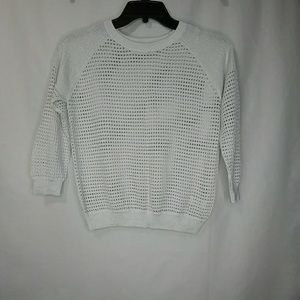 Express Sparkly Shimmery Mesh Open Knit Sweater
